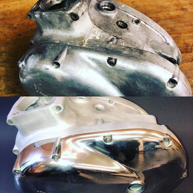 Triumph Tiger Cub crank case before & after vapour blasting & metal polishing