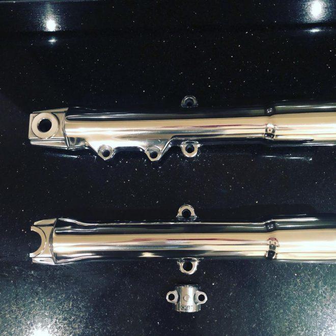 polished Harley fork sliders